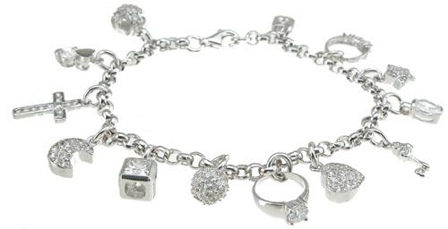 925 Sterling Silver Rhodium Finish Cz Charm Tiffany Style Bracelet
